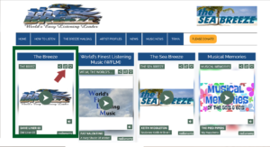Screenshot of the Breez home page with an arrow pointing to the pop out link